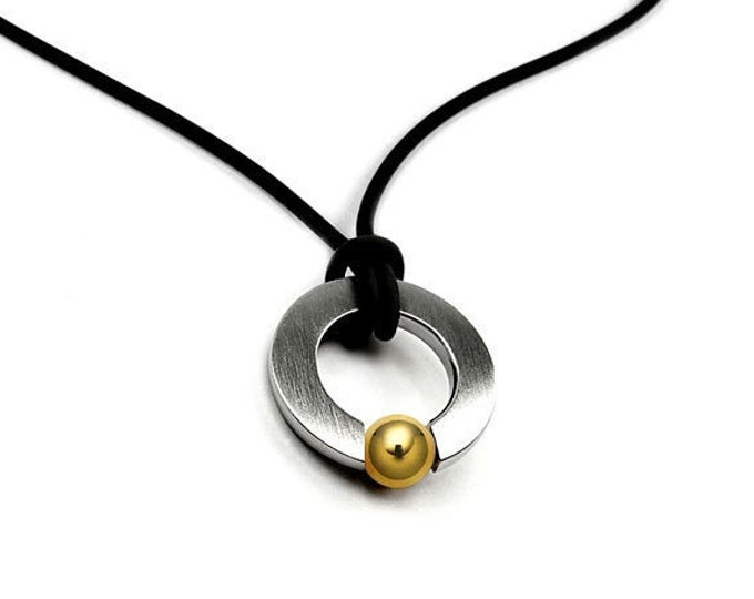 Mens Necklace Gold and Stainless Steel Tension Set by Taormina Jewelry