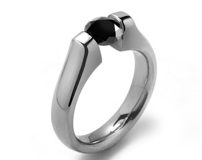 1ct Black Onyx Tension Set Modern Ring Stainless Steel