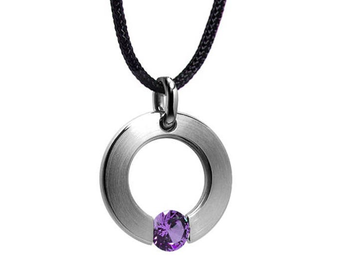 Amethyst Tension Set Pendant in Stainless Steel