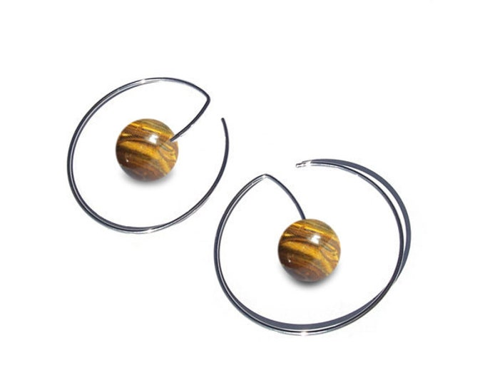 Tiger Eye Wire Round Earrings in Stainless Steel by Taormina Jewelry