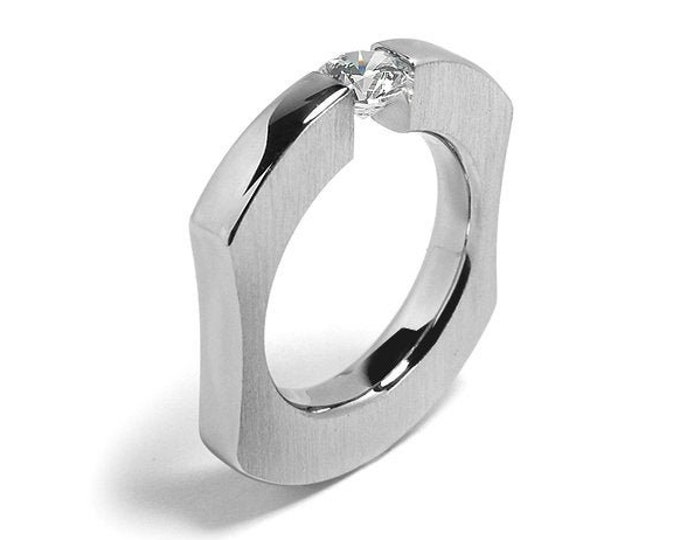 Modern Ring White Sapphire Comfort Fit Tension Set  Steel Stainless