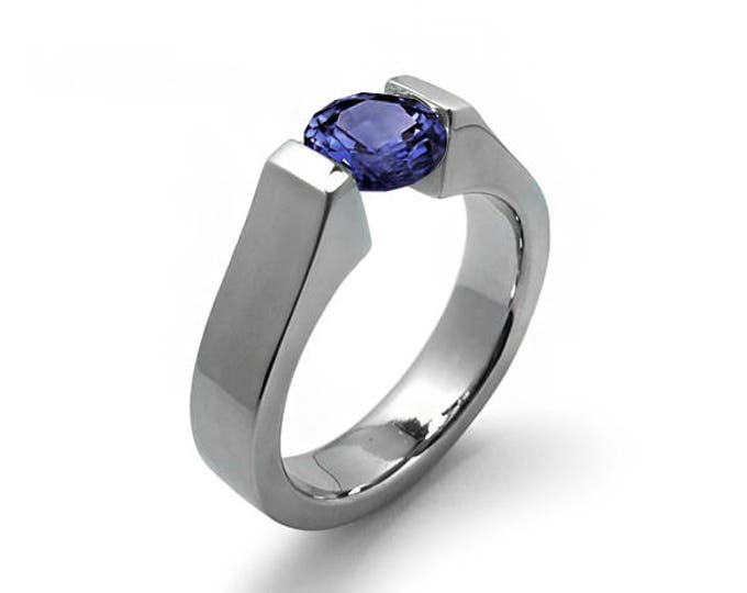 1ct Blue Sapphire Ring Tension Set Mounting in Stainless Steel