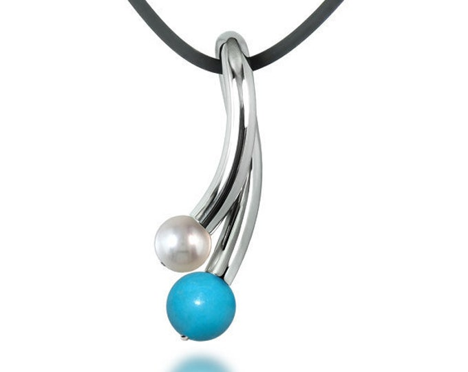 White Pearl and Turquoise Pendant in Stainless Steel by Taormina Jewelry