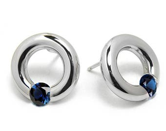 Blue Sapphire Stud Post Tension Set Earrings in Steel Stainless