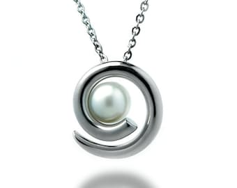 White Pearl Swirl Pendant in Stainless Steel Elegant Modern and Unique