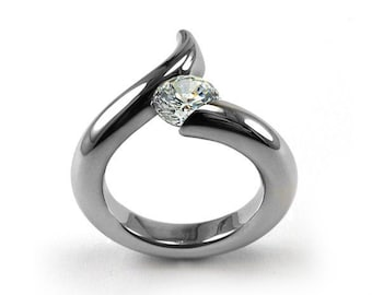 1ct White Sapphire Engagement bypass Ring Tension Set Stainless Steel by Taormina Jewelry