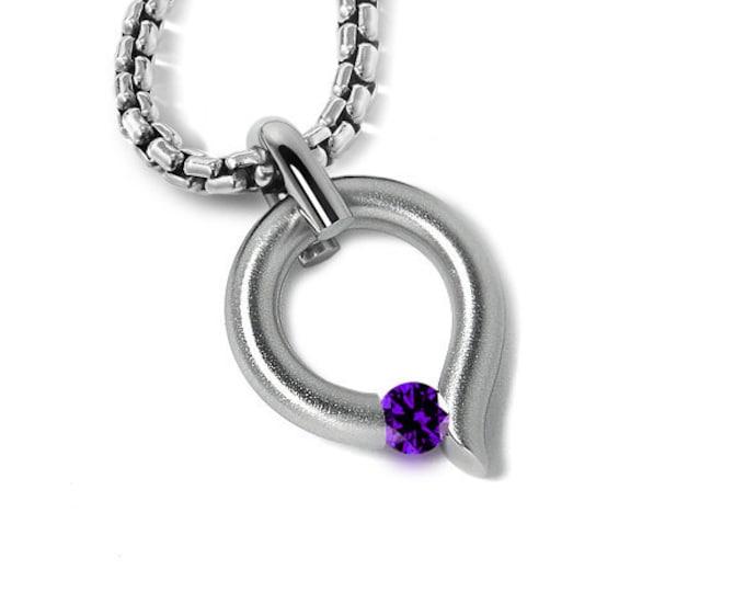 Amethyst Tension Set Tear Drop Pendant in Stainless Steel by Taormina Jewelry