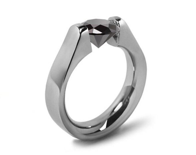 1.5ct Black Diamond High setting Tension Set Engagement Ring by Taormina Jewelry