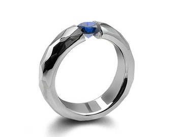 0.75ct Blue Sapphire Tension Set Hammered Stainless Steel Mounting by Taormina Jewelry