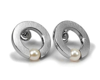 Modern White Pearl Tension Set Circle Earrings in Stainless Steel by Taormina Jewelry