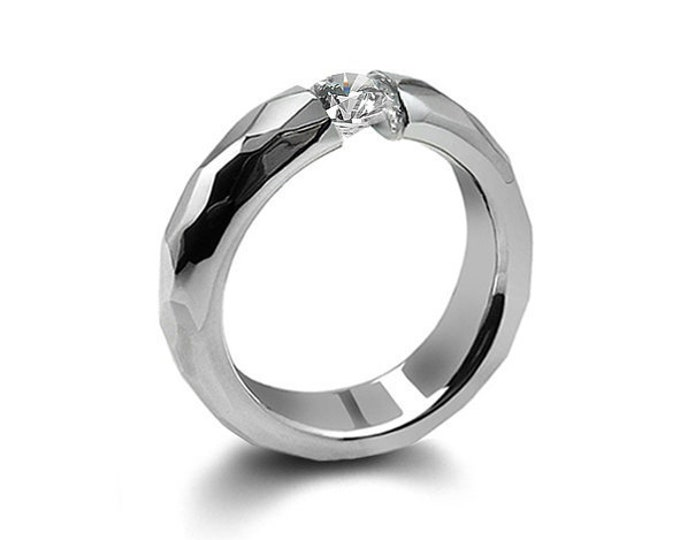 0.75ct White Sapphire Tension Set Hammered Stainless Steel Mounting by Taormina Jewelry