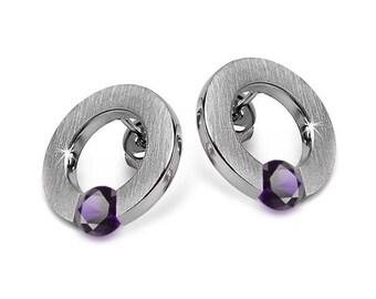 Amethyst Stud Post Tension Set Flat Circle Earrings in Stainless Steel by Taormina Jewelry