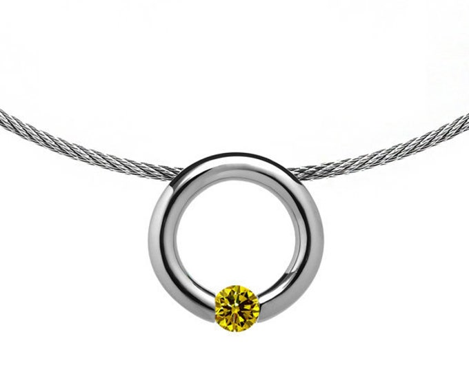Yellow Sapphire Tension Set Pendant with Stainless Steel Cable choker by Taormina Jewelry