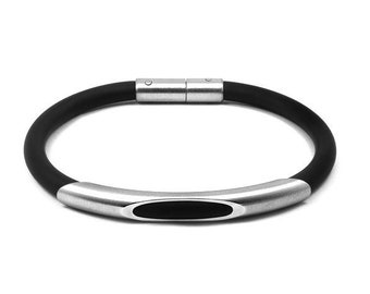 Bracelet Stainless Steel and Black Rubber by Taormina Jewelry