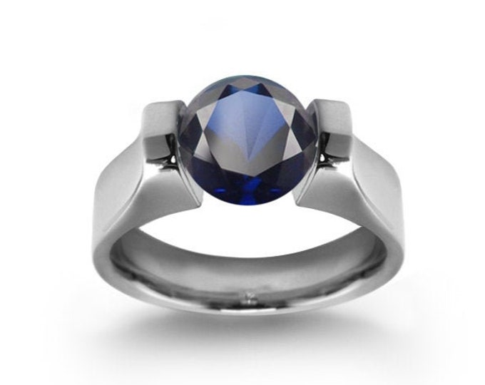 1ct Blue Sapphire High setting Tension Set Engagement Ring by Taormina Jewelry