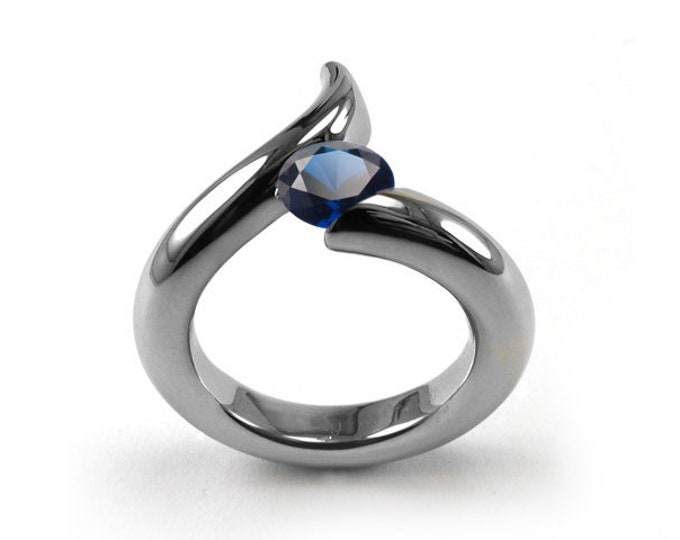 1ct Blue Sapphire Bypass Swirl Tension Set Ring in Stainless Steel by Taormina Jewelry