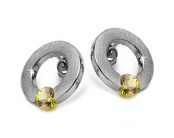 Yellow Sapphire Flat Round Tension Set Earrings Steel Stainless by Taormina Jewelry