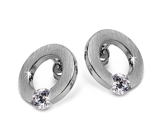 White Sapphire Tension Set Round Flat Earrings in Stainless Steel by Taormina Jewelry