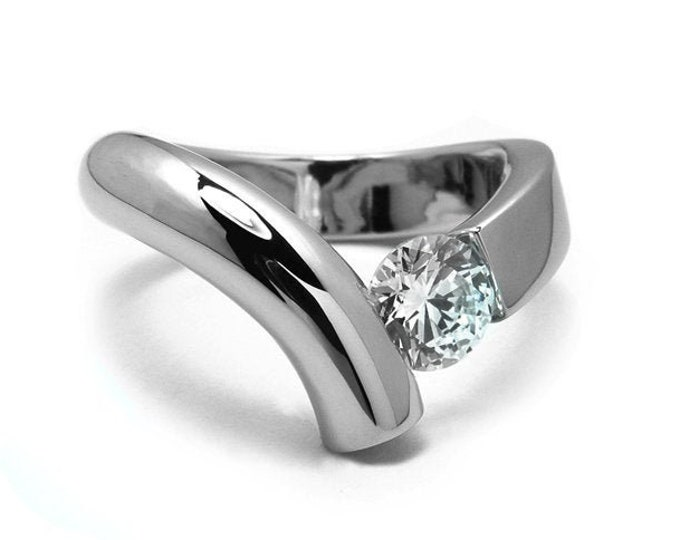 1ct White Sapphire Bypass Tension Set Ring in Two Tone Stainless Steel by Taormina Jewelry