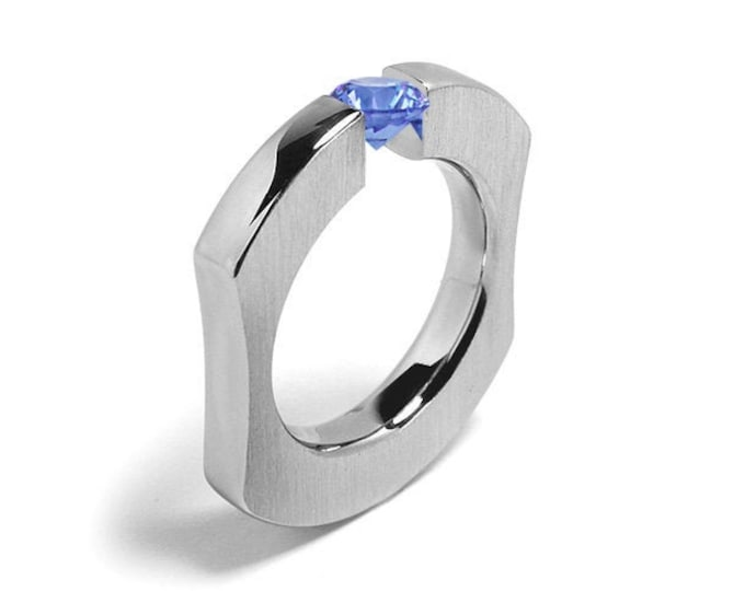1ct Blue Topaz Ergonomic Tension Set Ring in Stainless Steel