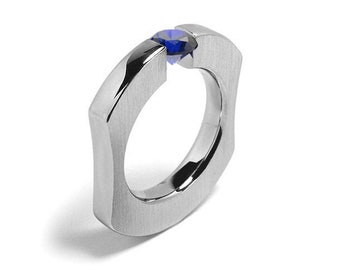 1ct Blue Sapphire Ergonomic Tension Set Ring in Stainless Steel by Taormina Jewelry