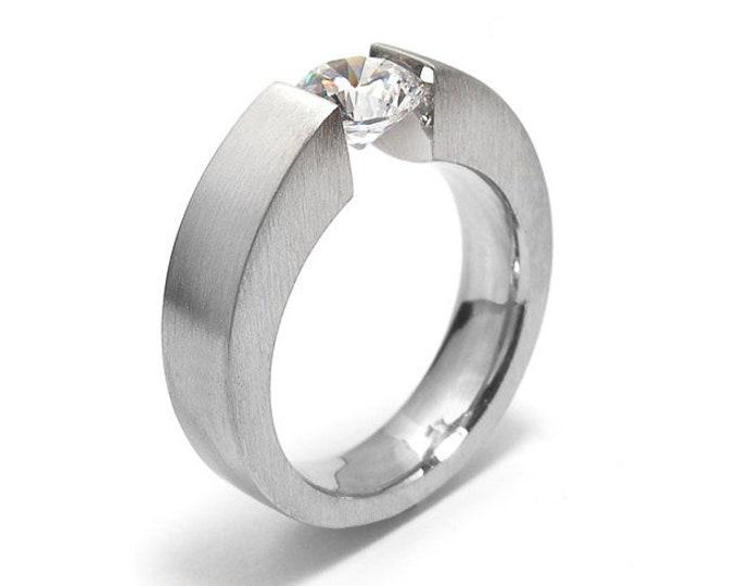 Two Tone Mens Ring with 1ct White Sapphire Tension Set Steel Modern Style