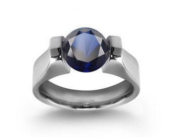 2ct Blue Sapphire Ring Tension Set Mounting in Stainless Steel by Taormina Jewelry