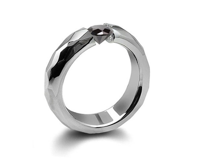 0.75ct Black Diamond Tension Set Hammered Stainless Steel Mounting by Taormina Jewelry