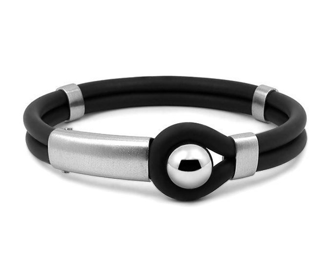 Black Rubber and Stainless Steel Mens Bracelet Modern Designs by Taormina Jewelry