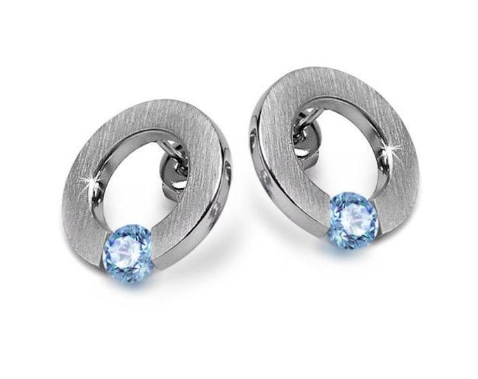 Blue Topaz Stud Tension Set Circle Flat Earrings Stainless Steel by Taormina Jewelry