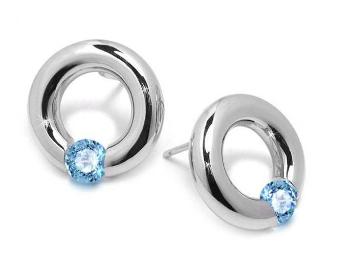 Blue Topaz Round Earrings Tension Set in Stainless Steel by Taormina Jewelry
