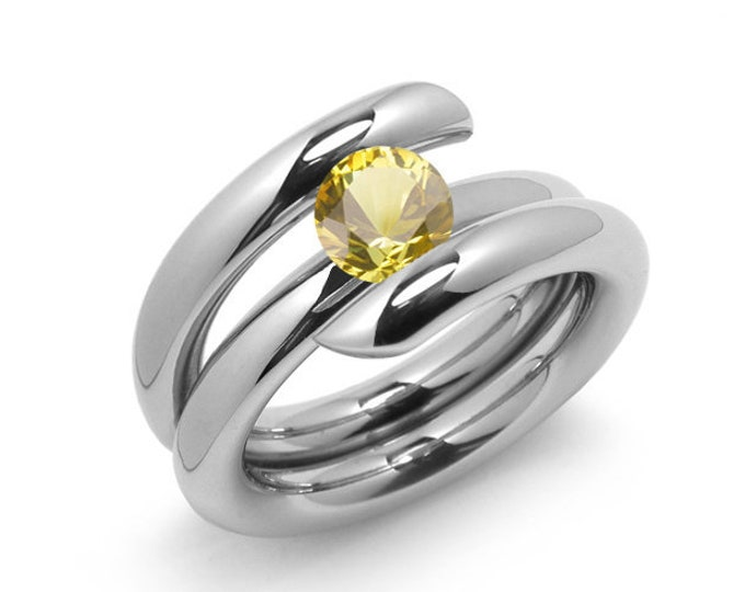 1.5ct Yellow Sapphire High Setting Bypass Tension Set Ring in Stainless Steel by Taormina Jewelry