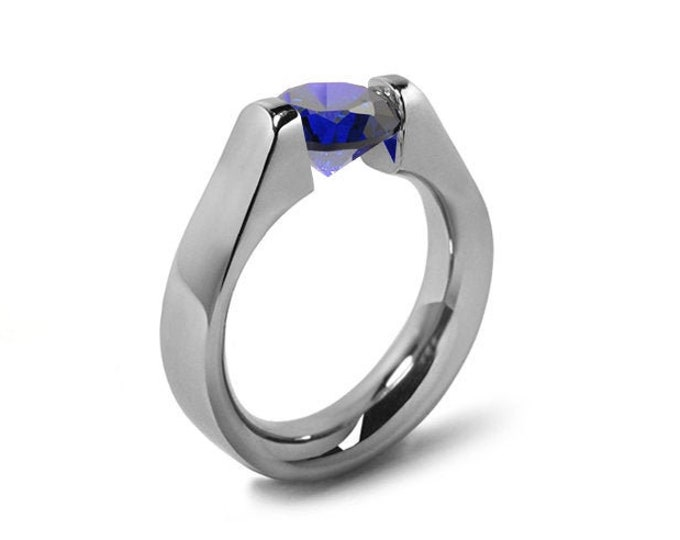 1.5ct Blue Sapphire High setting Tension Set Engagement Ring