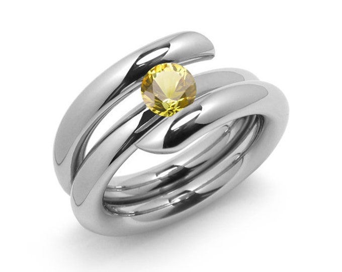 1ct Yellow Sapphire High Setting Bypass Tension Set Ring in Stainless Steel by Taormina Jewelry