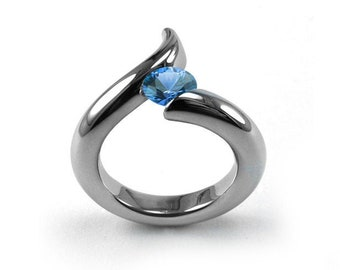 1ct Blue Topaz Bypass Swirl Tension Set Ring in Stainless Steel