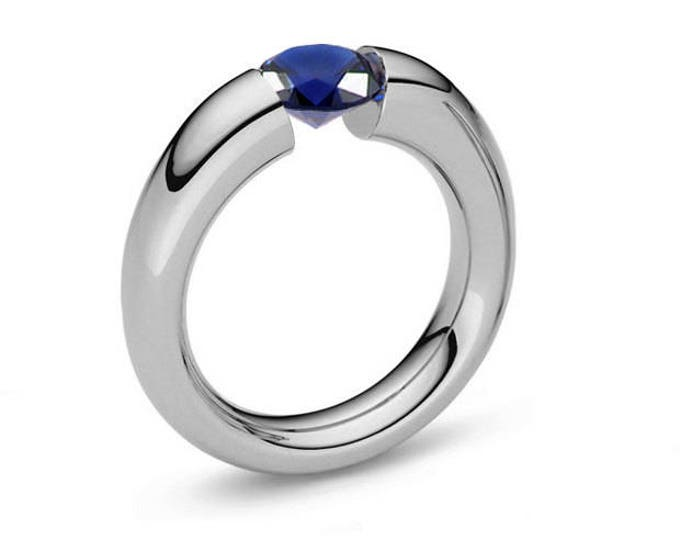 Blue Sapphire Tension Set Tapered Engagement Ring in Stainless Steel