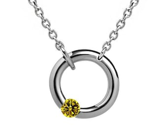 Yellow Sapphire Tension Set V Necklace in Stainless Steel