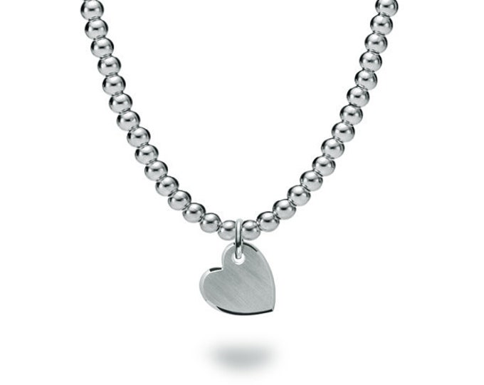 Beads necklace with a sideways heart tag in Stainless Steel by Taormina Jewelry