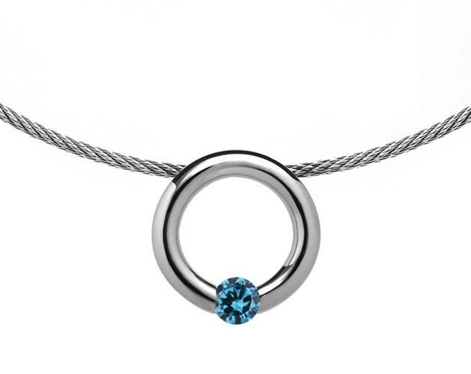 Blue Topaz Tension Set Pendant  with Stainless Steel Cable choker by Taormina Jewelry