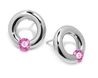 Pink Sapphire Stud Tension Set Round Earrings in Steel Stainless