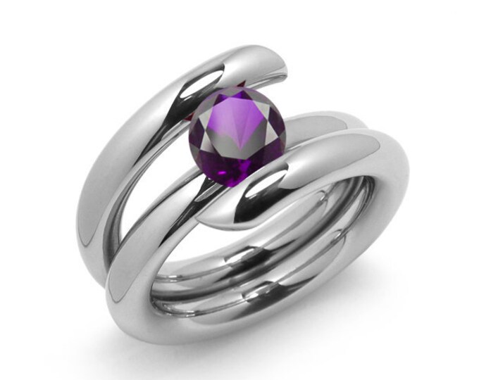 2ct Amethyst High Setting Bypass Tension Set Ring in Stainless Steel by Taormina Jewelry