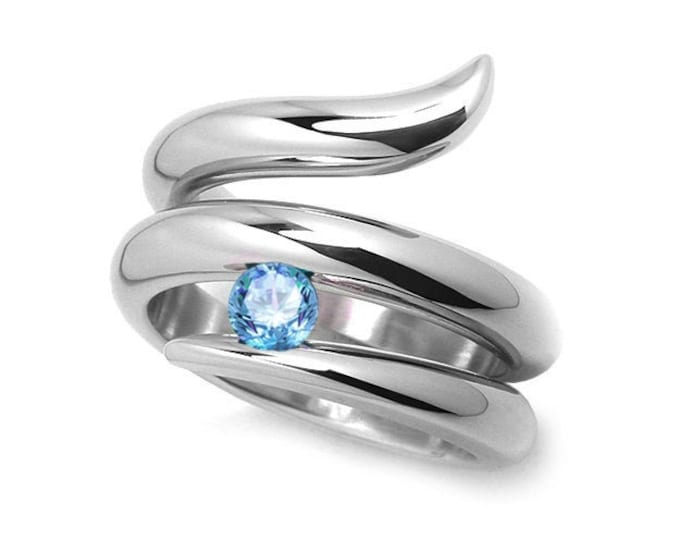 0.50ct Blue Topaz Tension set Statement Snake shaped Ring in Stainless Steel by Taormina Jewelry