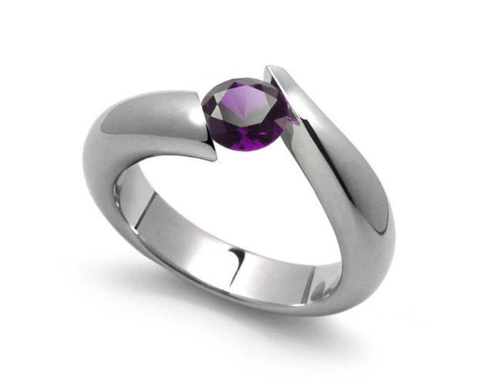 1ct Amethyst Bypass Tension Set Ring in Stainless Steel