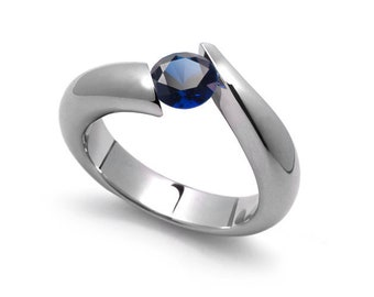 1ct Bypass Blue Sapphire Tension Set Ring in Two Tone Stainless Steel