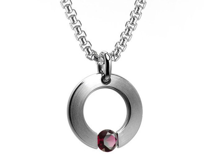 Garnet Tension Set Flat Circle Pendant in Stainless Steel by Taormina Jewelry