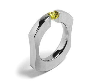 1ct Yellow Sapphire Ergonomic Tension Set Ring in Stainless Steel