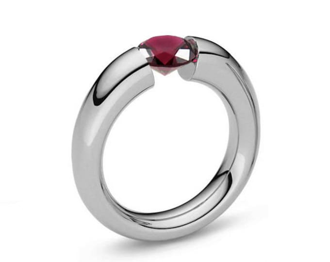 Ruby Tension Set Tapered Engagement Ring in Stainless Steel