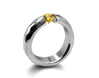 0.75ct Yellow Sapphire Tension Set Hammered Stainless Steel Mounting