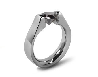 1.5ct Black Onyx High setting Tension Set Engagement Ring by Taormina Jewelry