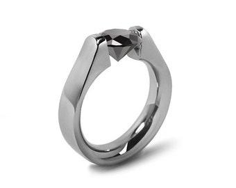 1.5ct Black Onyx High setting Tension Set Engagement Ring